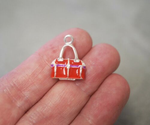 2 Red Handbag Charms 20mm 3D Bag Charm Pendants