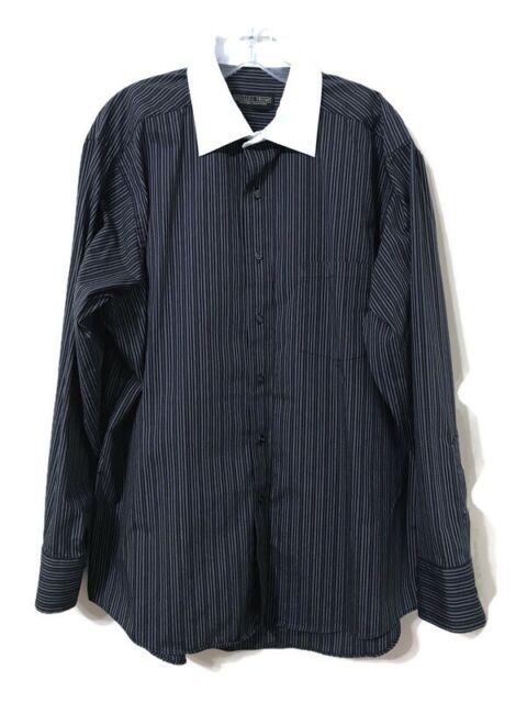 Donald J Trump Signature Collection Dress Shirt Mens Size 17 34/35 Black Striped