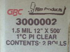 2 Rolls Of Gbc 15 Mil 12 X 500 Clear Laminating Rolls Nap Lam 3000002