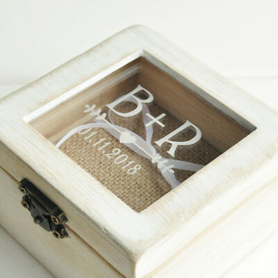 Small ring box Custom ring box Ring pillow Holder Engraved ring bearer box Mint Wedding ring box Personalized wedding box with glass lid