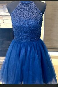 Navy Jessica McClintock sequin and tulle cocktail dress girls, homecoming,qui