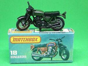 Matchbox-Lesney-No-18f-Honda-Hondarora-Motocicleta-en-039-L-039-Caja-raro-Oliva