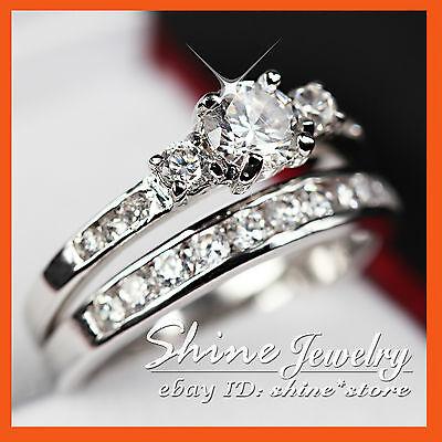 24K WHITE GOLD GF R224 TRILOGY LAB DIAMONDS WEDDING ANNIVERSARY WOMENS RING SET
