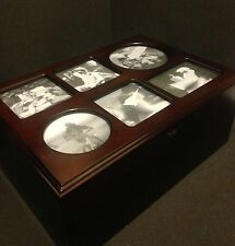 Wooden Photo Cabinet Storage Chest Armoire Wood Glass Organizer Box jewelry