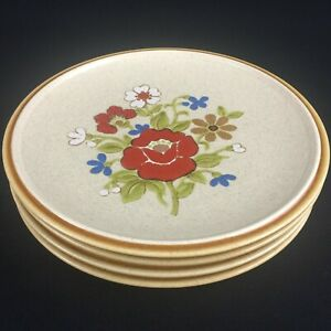 Lot-of-4-VTG-Salad-Plates-7-1-2-034-Premiere-Stoneware-Country-Casuals-F5800-Japan