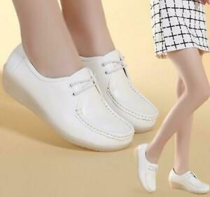 ladies leather women wedge white shoes lace up casual
