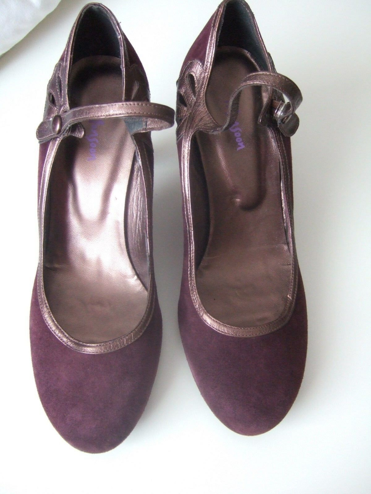 MONSOON Shoes UNWORN Plum Suede 'MaryJane' Shoes MONSOON with Bronze Trim. Size 41 RRP .00! 977e48