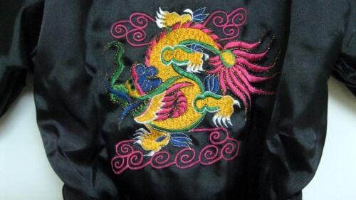 New Thai Silk-Blend Child/'s Robe Kimono Medium Blue Reversible Dragon//Unisex-S