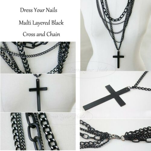 Cross Black Multi Layer Chain Pendent Necklace Large Long Gothic Punk Styled