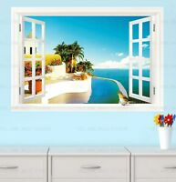 Huge 3D Window Caribbean Sea View Wall Stickers Film Art Decor Wallpaper Lounge
