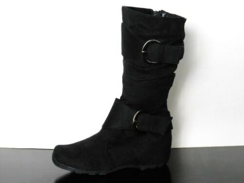 Girls Black Faux Suede  2 Buckle Boots Slouchy Super Cute Size 9 /& 10