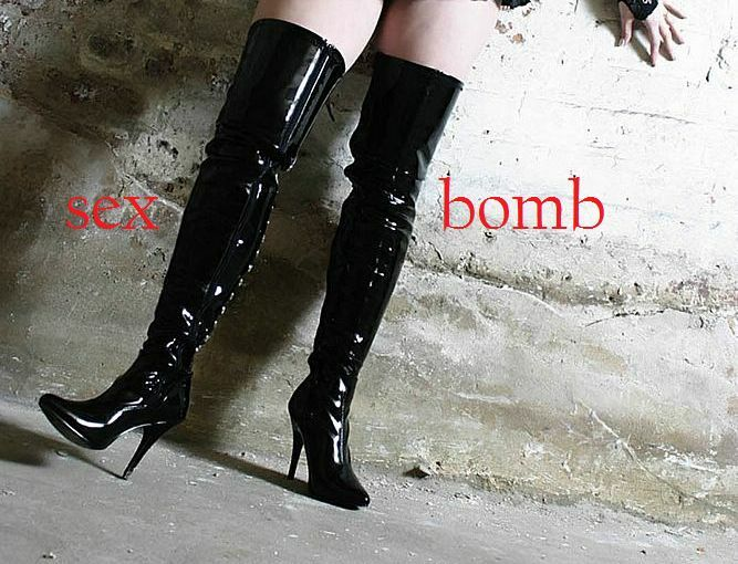 SEXY stivali coscia stringati nero lucidi TACCO TACCO lucidi 13 DAL 36 AL 44 fashion GLAMOUR 15012d