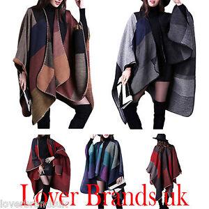 Womens-Fashion-Donna-Lavorato-a-Maglia-Cape-Coperta-Inverno-Avvolgere-Poncho-Aperto-Sul-Davanti