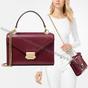 NWT-Michael-Kors-Whitney-Small-Top-Handle-Leather-Messenger-Oxblood-Dark-Red