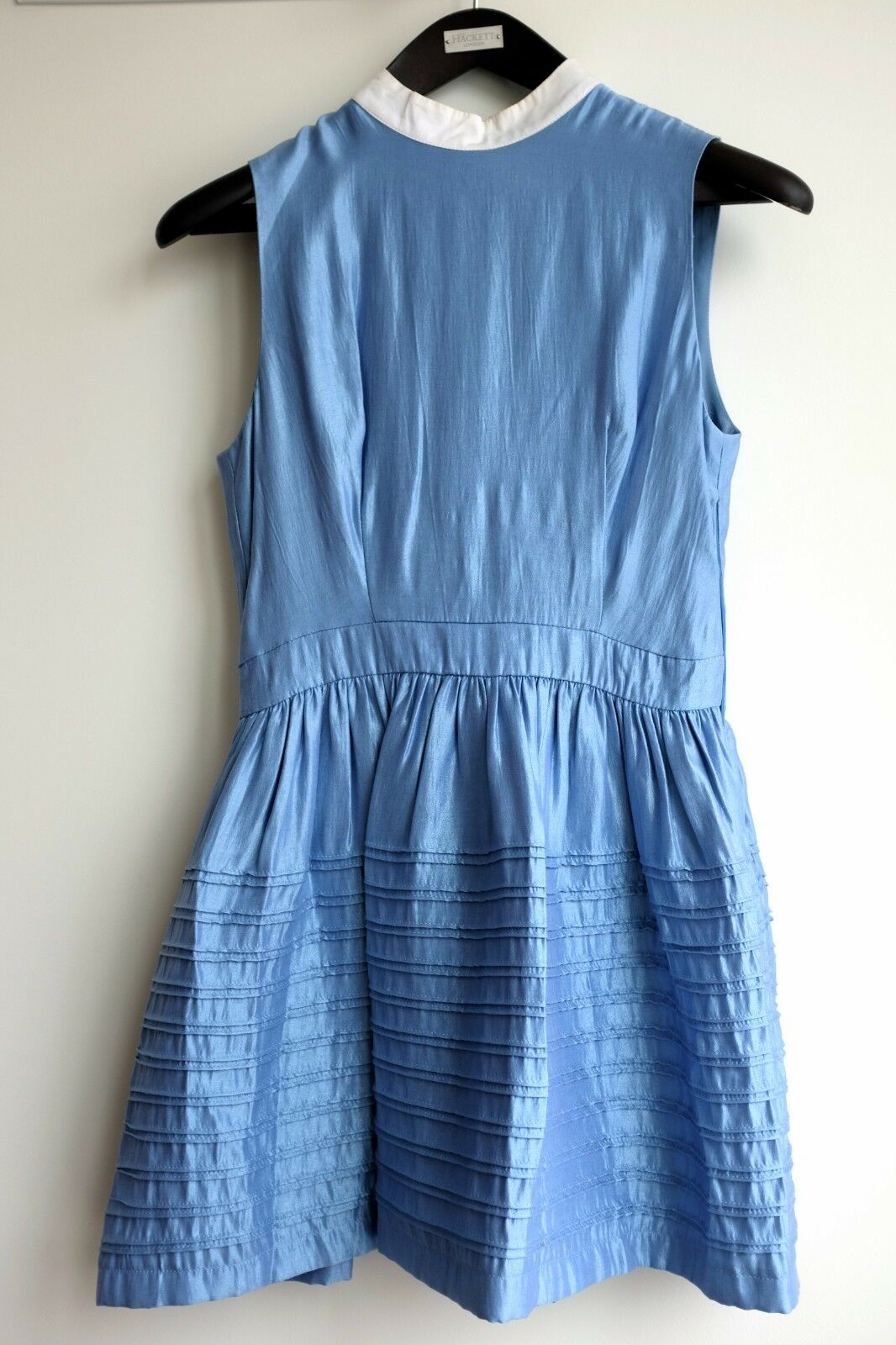 bluee A-line Dress with Gem Button & Side Zip - Size 40 - 32  long from shoulder
