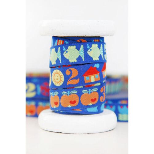 ♥ 123 byGraziela ZAHLEN Blau ♥ Webband 15mm//1m p00mw5184