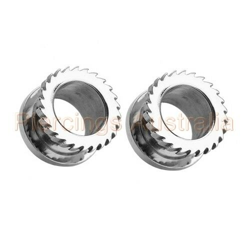 Saw Blade Ear Tunnel Stretcher Expander Piercing Jewellery CHOOSE SINGLE OR PAIR