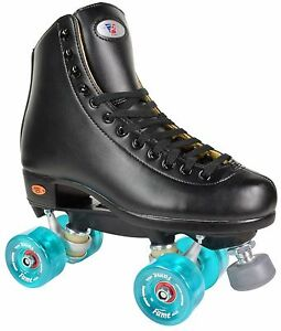 Riedell-111-Fame-Men-Size-4-13-Indoor-Rink-Roller-Skates-Clear-Teal-Wheels