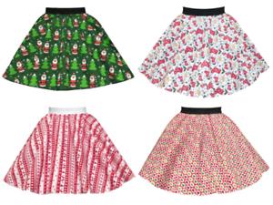LADIES-Christmas-Jumper-Day-SKIRTS-Christmas-Fancy-Dress-Festive-Circle-Skirts