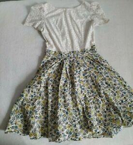 Kleid Vintage Creme Blumen Rock Gr XS S 34 36 Spitze weit ...