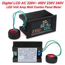 Lcd Led Digital Voltmeter Ac 220v 230v 240v 450v Panel Volt Amp Watt Combo Meter