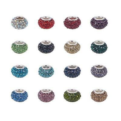 50pcs Grade A Rhinestone Rondelle Large Hole European Beads with Silver Core
