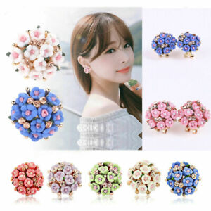 Elegant-Women-039-s-Flower-Crystal-Rhinestone-Ear-Stud-Fashion-Earrings-Jewelry