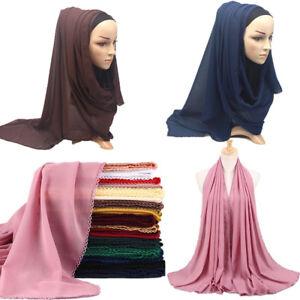 New-Elegant-Women-Pearl-Chiffon-Lace-Scarf-Lady-Muslim-Islamic-Hijab-Wrap-Shawl
