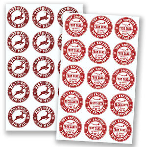 2-x-A4-Sheets-North-Pole-Air-Mail-amp-Santa-Toy-Factory-Stickers-Christmas-6604