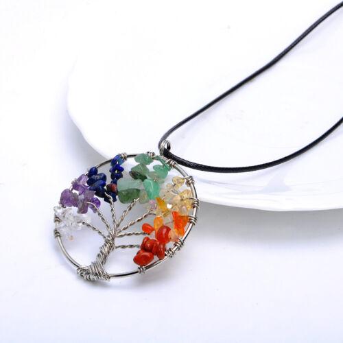 Retro Tree of Life Charm Pendant Crystal Quartz Leather Cord Choker Necklace