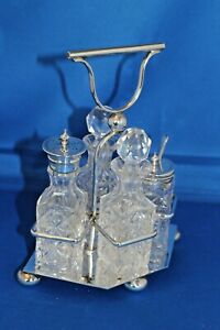 Antique-BW-amp-S-Silver-Plated-Crystal-Cut-Glass-Cruet-Condiment-Set-EPNS-Stand
