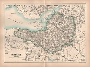 1889 Antique Map Johnston England Somerset Wells Taunton Chard Bath