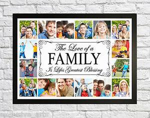 photo de famille photo collage montage encadr e imprimer b nisse cadre cadeau personnalis ebay. Black Bedroom Furniture Sets. Home Design Ideas