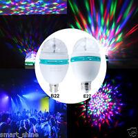 3W E27 B22 RGB LED Auto Rotating Lamp Party Disco Decor Crystal Magic Stage Bulb