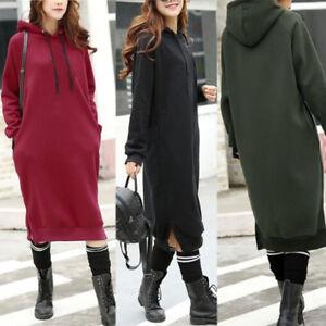 ZANZEA-Women-Long-Sleeve-Sweatshirt-Long-Shirt-Dress-Casual-Hoodied-Hooded-Dress