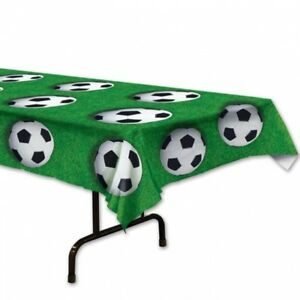 Details About Soccer Ball Plastic Tablecloth Banquet Table Cover Birthday Party Decorations