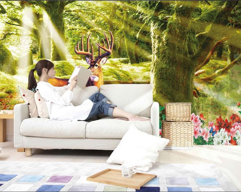 3D Sonnenschein Hirsch Wald 83 Tapete Wandgemälde Tapete Tapeten Bild Familie DE | Starke Hitze- und Abnutzungsbeständigkeit  | Lebhaft und liebenswert  | Ich kann es nicht ablegen