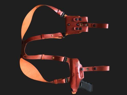 D061 Miami Vice Horizontal Shoulder Holster For GLOCK 17 19 22 23 RH Handmade!
