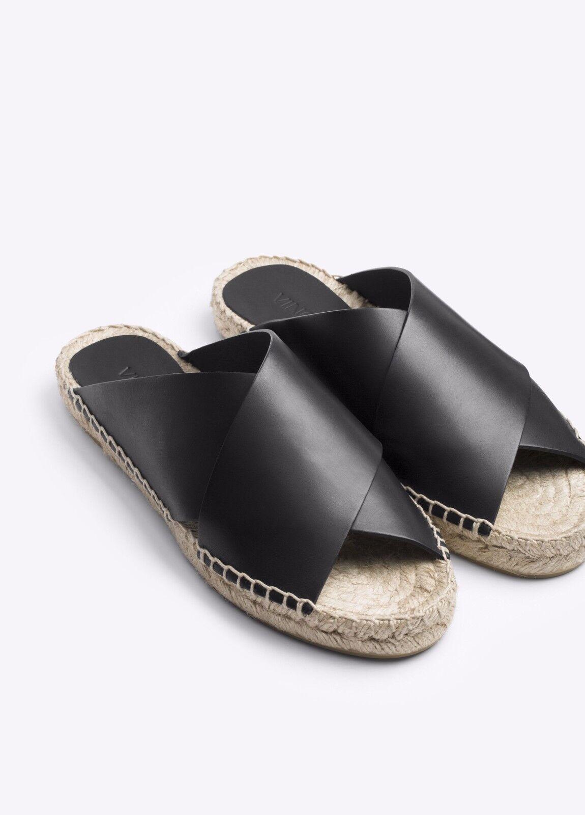 NIB Vince Castel Leather Crisscross Flat Espadrille Sandal Slide Black Sz 5  225