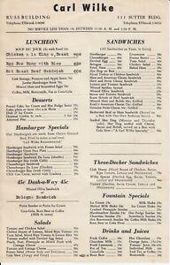 Vintage CARL WILKE Restaurant Menu, Russ & Hunter-Dulin Buildings San Francisco