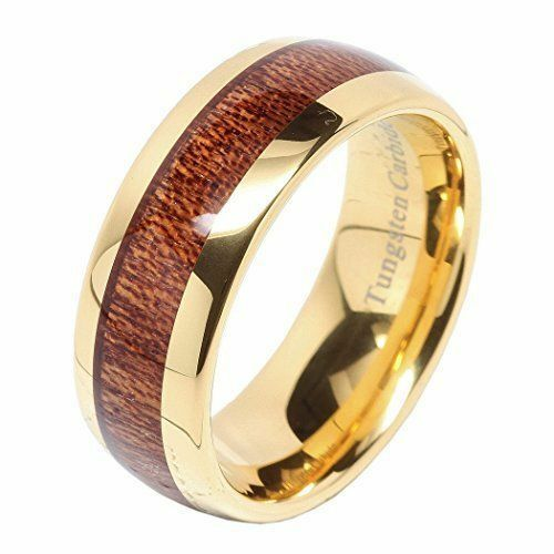 Tungsten Carbide Ring 8mm Wood Inlay 14k gold Plated Men's Wedding Ring NEW