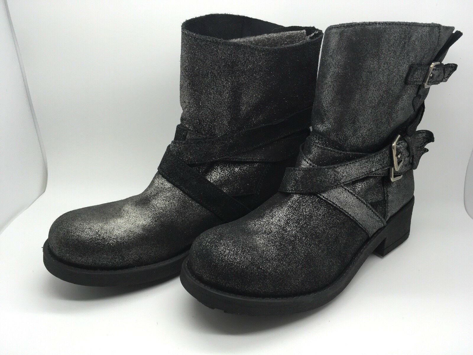 Stiefletten Leder marypaz neu Leder grau glänzend Größe 38 EUR / 6.5 US