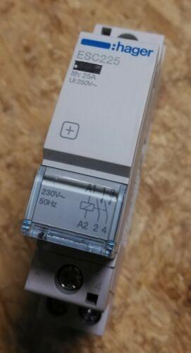 Hager ESC225 Fernschalter Lastschalter 25A Relais 2S Installationsschütz 230V~