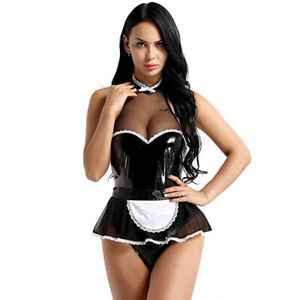 sexy womens lingerie pvc leather french maid underwear