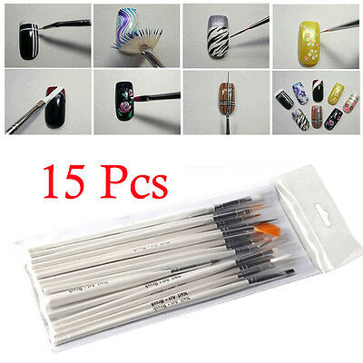 Hot 15pcs Nail Art UV Gel Design Brush Set Painting White Pen Manicure Tips Tool