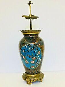 Genuine-Japanese-Antique-Cloisonne-Twin-Socket-Lamp-Ormolu
