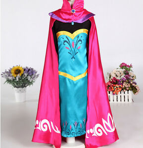 Frozen-Snow-Queen-Elsa-Coronation-Day-Party-Dress-amp-Cape-Fancy-Cosplay-Costume