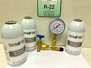 30 lb.,R-22 R22 Refrigerant 22 Screw-On Tank Gauge /& Hose Kit Refrigeration