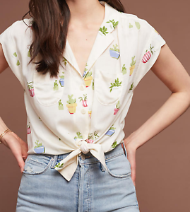Anthropologie Maeve Cactus Plant Raffine Blouse XL SOLD OUT NWT
