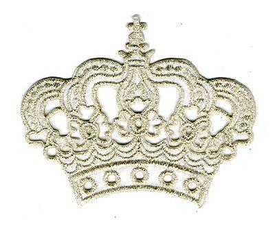 Krone zum Aufbügeln 11,5 x 9,5cm Farbe: Lurex-Silber